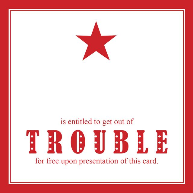 Get out of trouble card star red