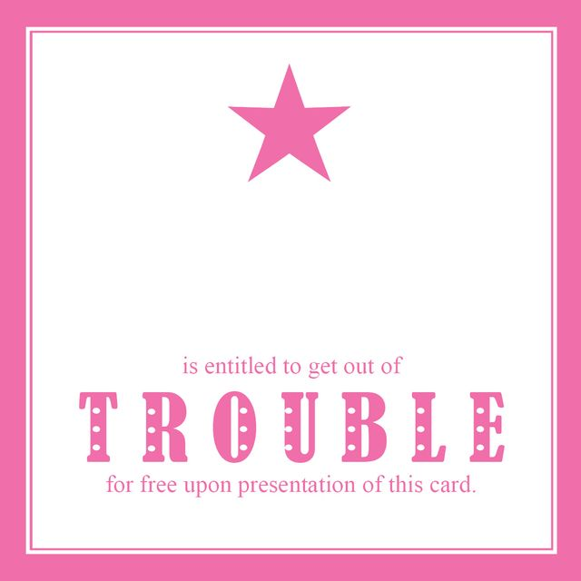 Get out of trouble card star pink