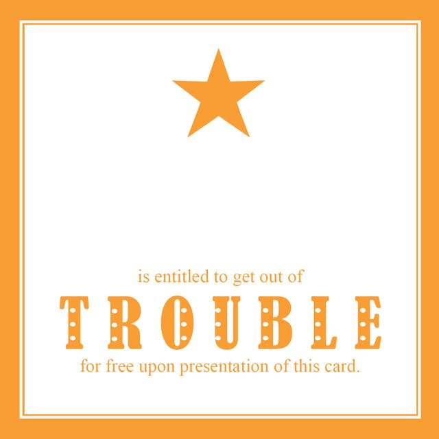Get out of trouble card star orange