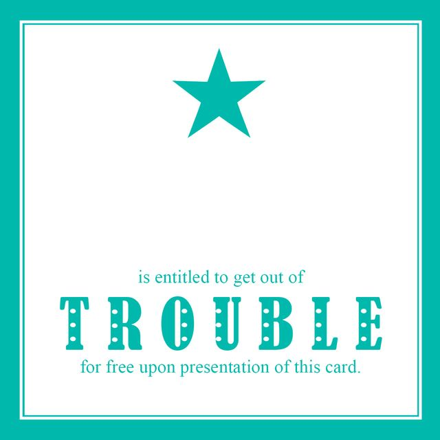 Get out of trouble card star turquoise