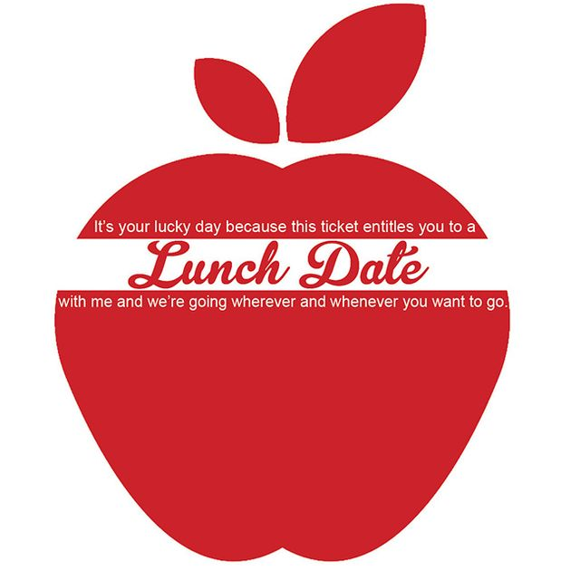 Lunch ticket apple red