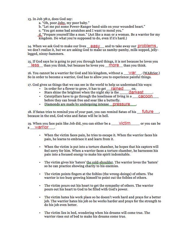 Study 1 Page 2 answer sheet